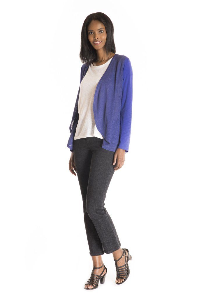 The Rudbeckia Cardigan Solid - women's spring summer fashion purple bamboo jersey linen cardigan