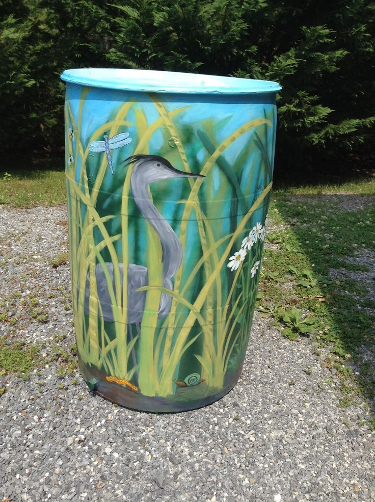 Painted Rain Barrels For Sale | For sale at Ecoasis Garden Center , MD