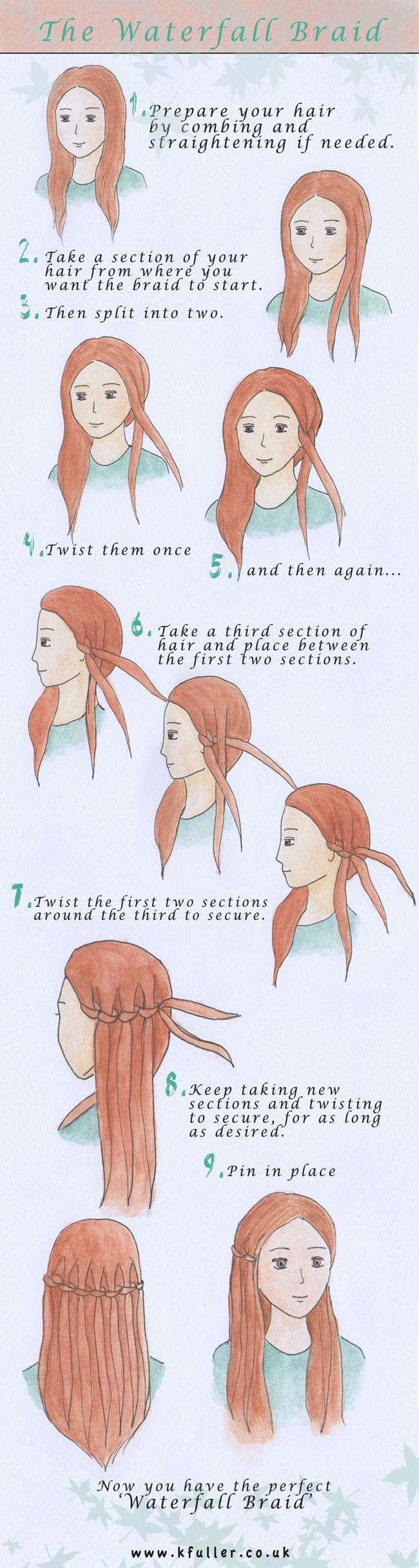 really easy directions for a waterfall braid. Been looking for something like…