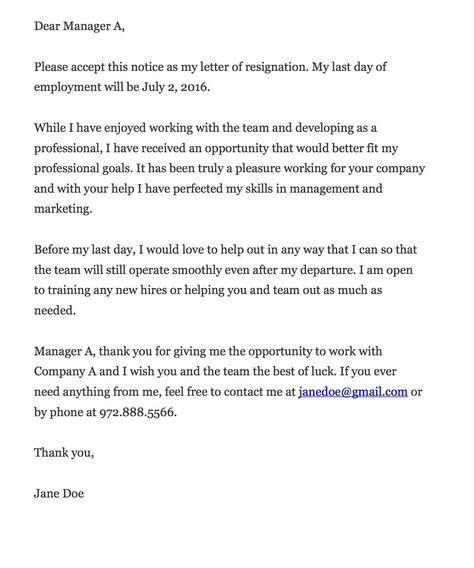 Resignation letter advice