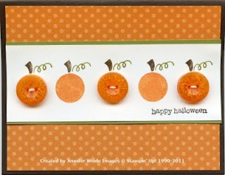 Buttons as Pumpkins.Cute as a card or in a frame.