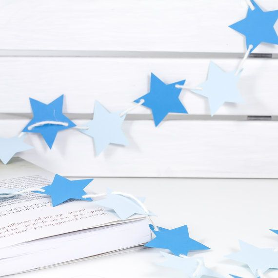 Bunting Garland Banner Blue Stars Bunting Garland Banner for home, room, office, party, circus, birthday, baby boy, boys room, newborn, baptism, 1st birthday, wedding, holidays.. by 21january on Etsy
