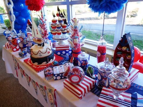 Anchors away at this red white blue nautical theme first for Anchor decoration party