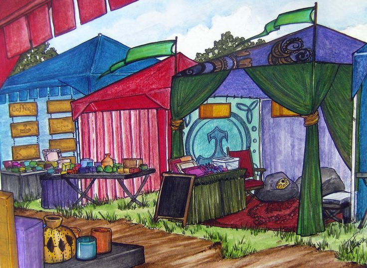 An imagined image from one of my favorite places! This is the vending area of Raven's Knoll campground during the Kaleidoscope Gathering, ''Diagon Alley''.