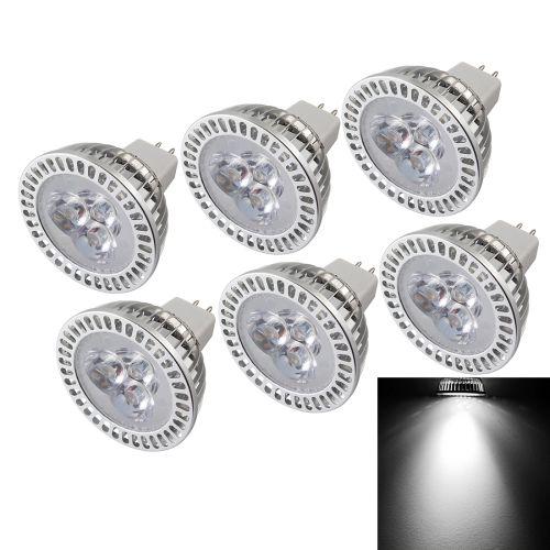 [USD15.97] [EUR14.99] [GBP11.57] 6 PCS YouOKLight MR16 3W 300LM White Light Dimmable 3 LED Spotlight Bulb, DC 12V