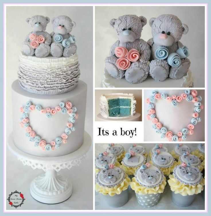 me to you bear gender reveal cake