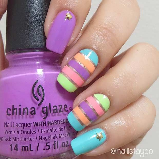 Colorful Striped Nail Design for Summer