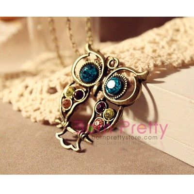 $2.55 Necklace Vintage Colorful Rhinestone Mosaic Hollow Owl Design - 1PC - BornPrettyStore.com
