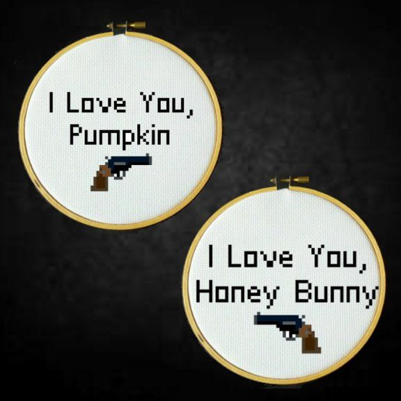 Pulp Fiction - I Love You Pumpkin, I Love You Honey Bunny - Cross Stitch PDF Pattern by LadyBeta on Etsy