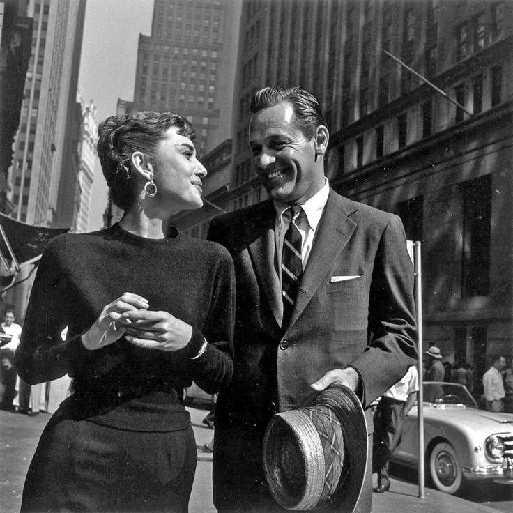Audrey Hepburn and William Holden on the streets of New York during the production of Sabrina, 1954.
