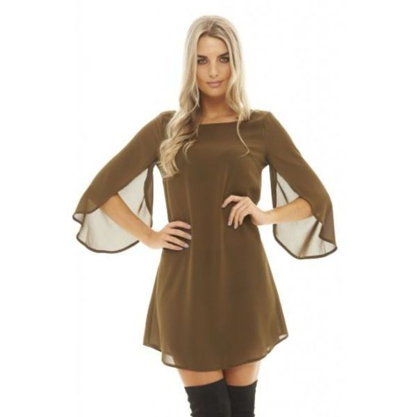 AX Paris Overlap Sleeve Smock Khaki Dress ($33) ❤ liked on Polyvore featuring dresses, green, khaki green dress, long-sleeve mini dress, ax paris, green mini dress and smocked dresses