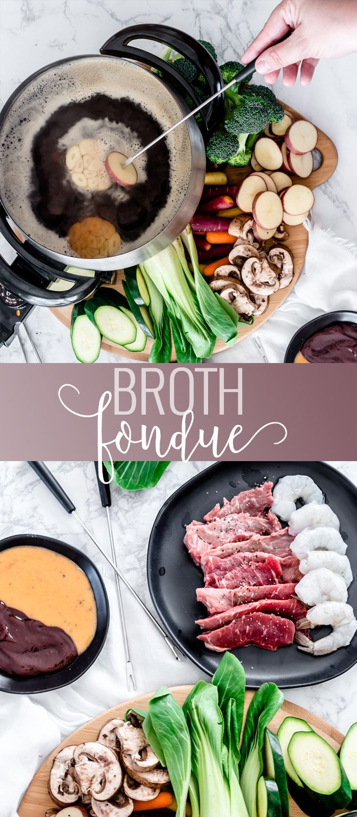 Broth Fondue | fondue bourguignonne | easy fondue recipes | broth fondue dippers | homemade fondue recipe | copycat melting pot fondue || Oh So Delicioso #brothfondue #fonduerecipe #fonduedippers