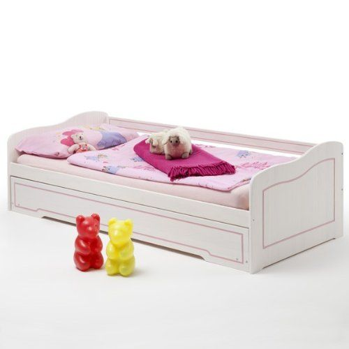 Tandembett Funktionsbett Kojenbett Sofabett STELLA, weiß rosa, Kiefer, 90x200