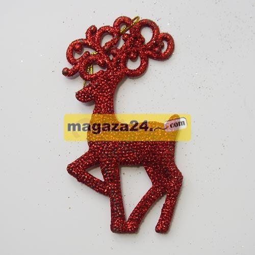 Bulb Yılbaşı Çam Ağacı Süsü Geyik Kırmızı Simli 3 Adet, Magaza24