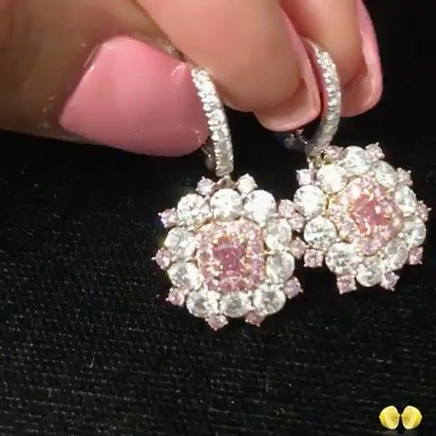 Novel Collection. Fancy pink diamond earrings.