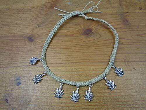 BEACH HEMP JEWELRY Pot Leaf Anklet Bracelet Adjustable Handmade In USA