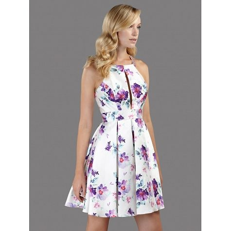 Cocktail φόρεμα με φλοράλ μοτίβο και κέντημα στην πλάτη