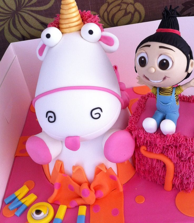 Dispicable me Agnes and fluffy unicorn cake
