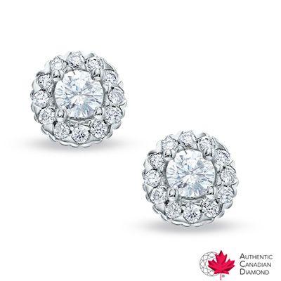 0.60 CT. T.W. Celebration 100™ Canadian Diamond Earrings in 18K White Gold