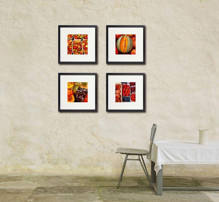 Food Photography, Warm Colors, Set Of Four, Kitchen Art, Restaurant Art,