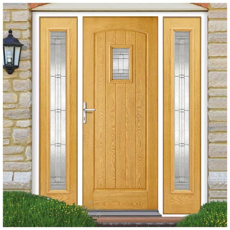 GRP Oak Cottage Glazed Composite Door with Two Sidelights. #externaldoor #frontdoor #entrance