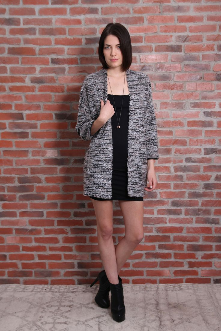 Coat Cardigan | Awfully Pretty Shop Bracelet length sleeve, open front sweater coat. Marled knit in neutrals. Thin leatherette accent bands around wrists and down length of spine. Looks amazing over a LBD and accessorized with Tokyo Jane bangles and bracelets.