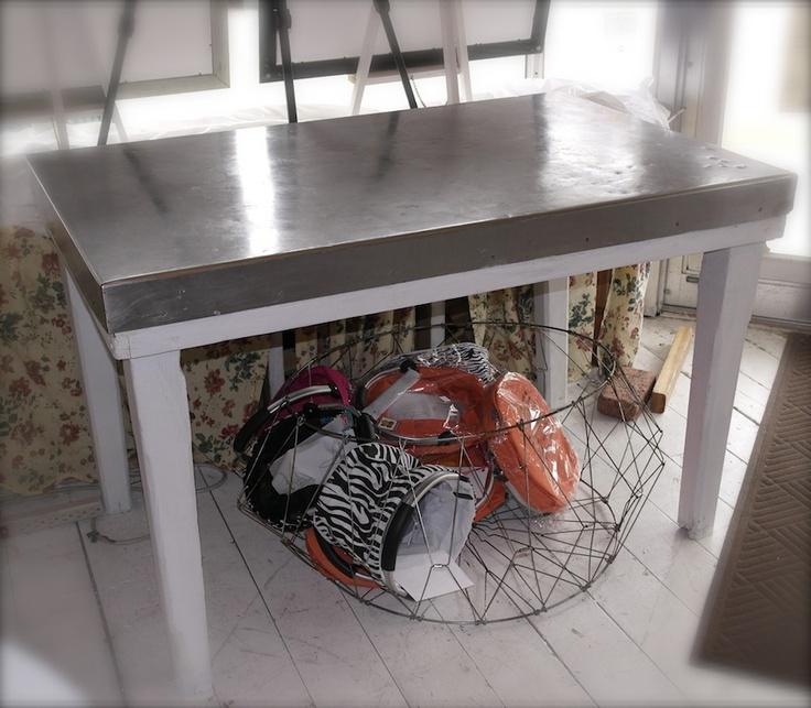 A Corner Cottage Metal Top Table Farmhouse Retreat