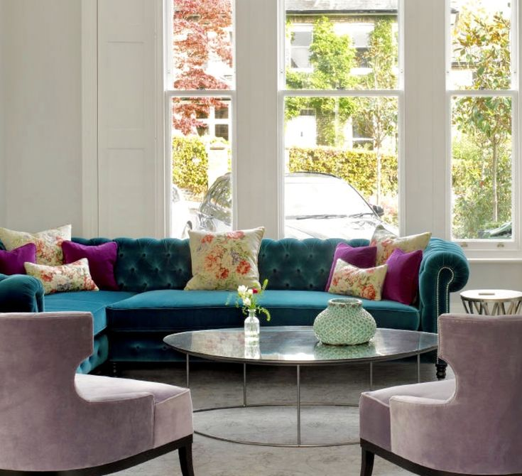 39 Attic Living Rooms That Really Are The Best: Colorful Living Room Decor, Teal Sofa, Peacock Sofa
