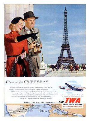 TWA air travel paris 1950sVintage Postcards, Paris Sight, Travel Paris, Paris Eiffel Towers, Vintage Wardrobe, Towers Postcards, Tourist Travel, Vintage Travel, Posters