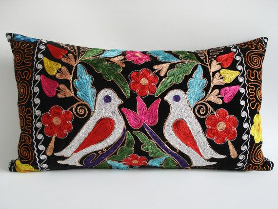 Sukan / Embroidered Suzani Velvet Pillow Cover  14x24 by sukan, $269.95
