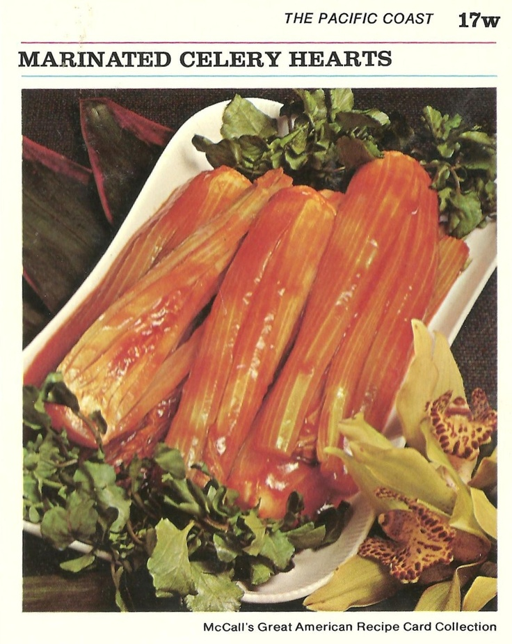 I collect vintage cookbooks filled with ugly food pictures. The more disgusting the better. They make me smile. Celery hearts stuffed with sardines and other bits smothered in french dressing anyone? No? <3