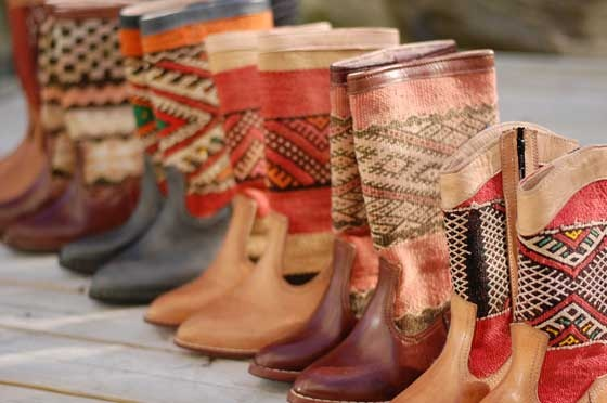 Boots made from Moroccan rugs. AAAAH! I wanna throw up they're so great