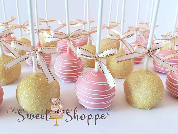 pink and gold themed cake pops