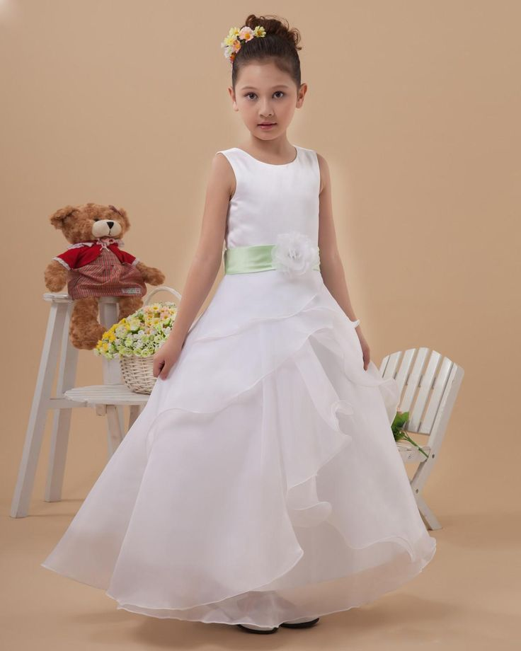 Cute Long Flower Girl Dress