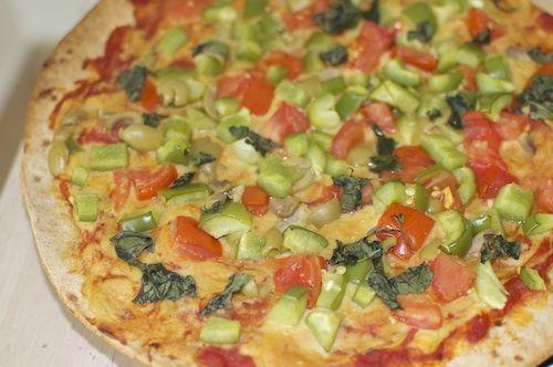 "Whole Wheat Pizza Dough w ""cheese sauce"" and veggies - Honey Hurry Home!"