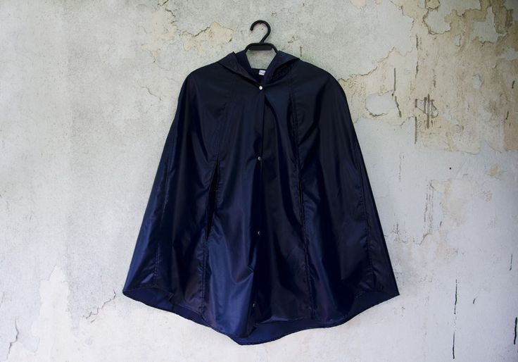 Dark Blue Raincoat, Rain Jacket with Hood,  from KarmologyClinic by DaWanda.com