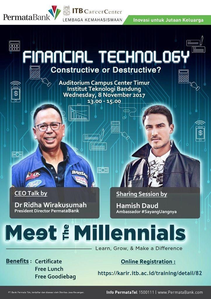 "YUK IKUTI! Talkshow Bank Permata dengan tajuk ""Financial Technology, Constructive or Destructive?""  Dengan pembicara: CEO Talk : Dr Ridha Wirakusumah (President Director Permata Bank) Sharing Session : Hamish Daud (Ambassador #SayangUangnya)  Catat Tanggalnya! Rabu, 8 November 2017 Pukul 13.00 - 15.00 Di Auditorium Sains Campus Center Timur (CC-Timur) ITB  GRATIS! Info >> http://bit.ly/talkshowpermata"