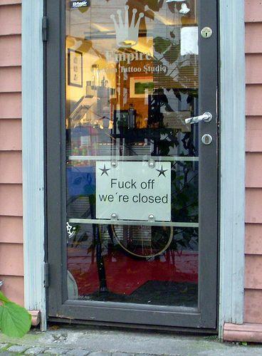 Winkel is gesloten