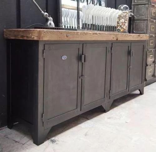 cómoda vajillero mueble madera (pinotea) y chapa industrial!                                                                                                                                                                                 Más