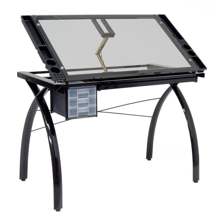 """Futura Craft Station.  Multifunctionele tekentafel met gehard veiligheidsglas.  De tafel kan verstelt worden van een plat werkblad en schuin tot 35°.  De Futura Craft Station heeft een grote potloodlade, 4 afneembare zijkant bakken en 3 uitschuifbare laden die te monteren zijn aan beide kanten van de tafel.  Uitvoering zwart met transparant glas.  Formaat:96.5 cm x 61.96 cm (38""""x 24"""")."""
