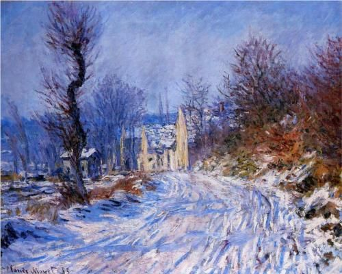 Road to Giverny in Winter - Claude Monet - 1885