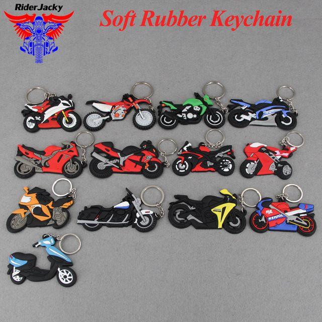 Motorcycle Model Shape Soft Rubber Keychain Keyring Key Chain Key