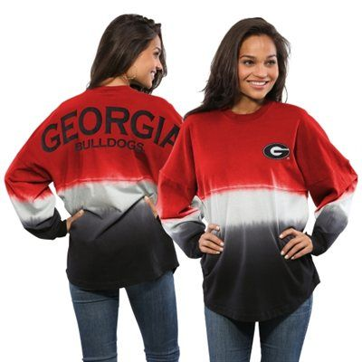 Georgia Bulldogs Women's Ombre Long Sleeve Dip-Dyed Spirit Jersey - Red