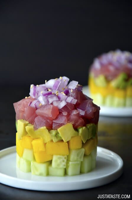Ahi Tuna Stacks with Ginger-Soy Dressing Recipe on justataste.com