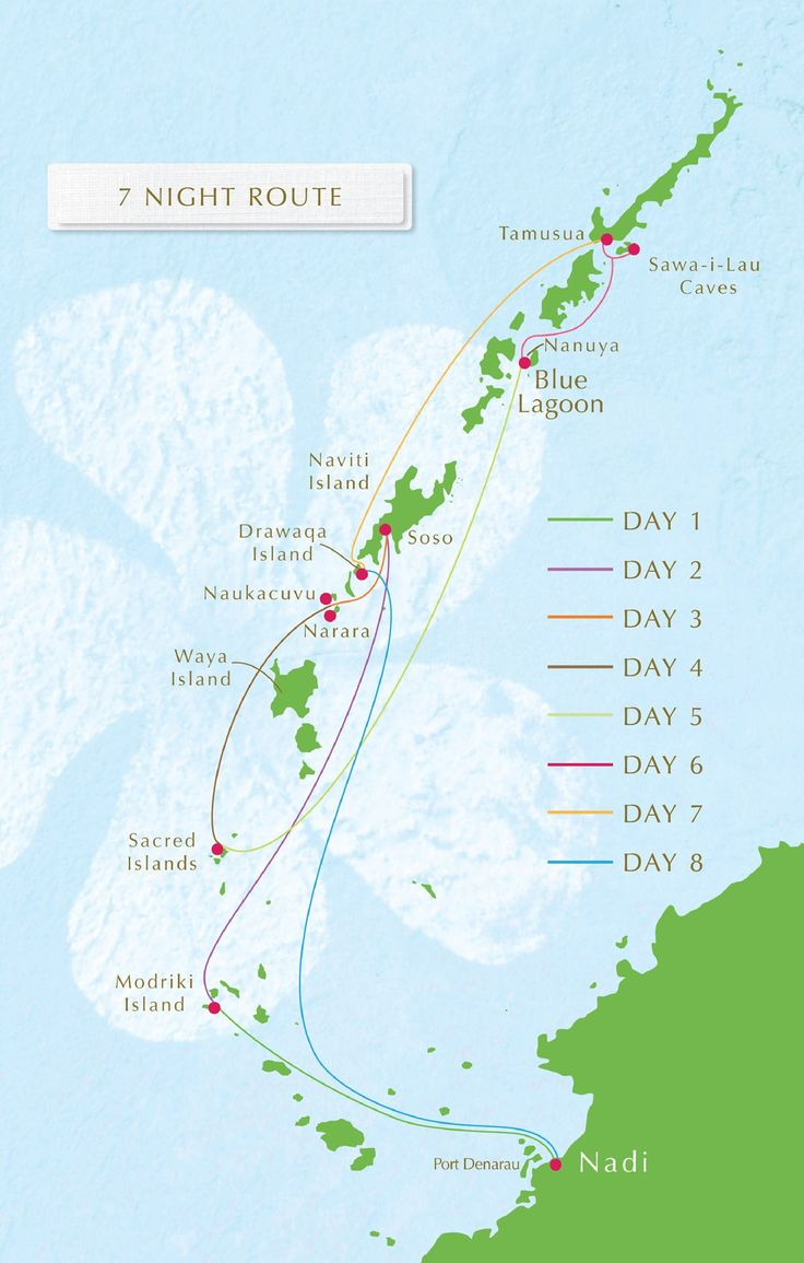 A map of Blue Lagoon Cruises itinerary route
