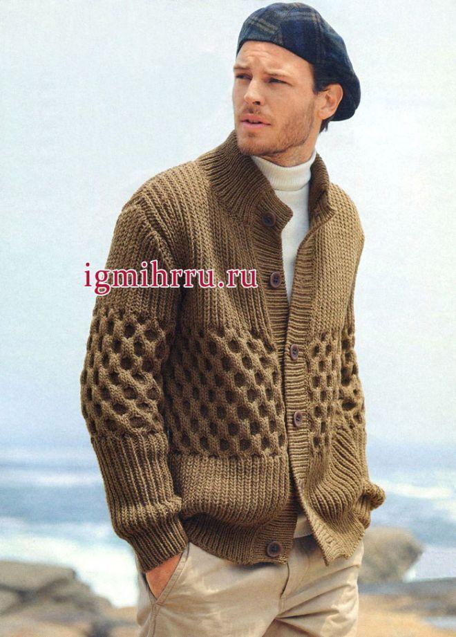 Неформальный стиль. Коричневый мужской жакет с фантазийной резинкой и рельефным узором. Вязание спицами для мужчин
