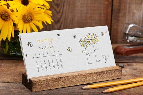 2014 Letterpress Desk Calendar with Stand - Daisy Seeded Handmade Paper - Desktop Plantable Hand Illustrated