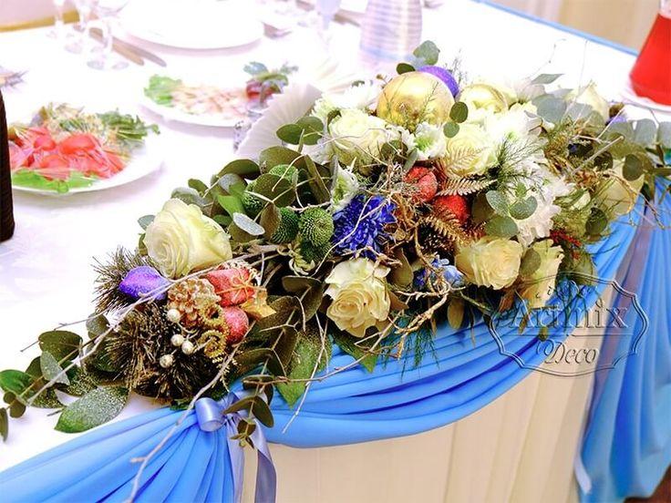 Цветочная композиция на стол жениха и невесты в зимнем стиле | Живые цветы на свадьбу