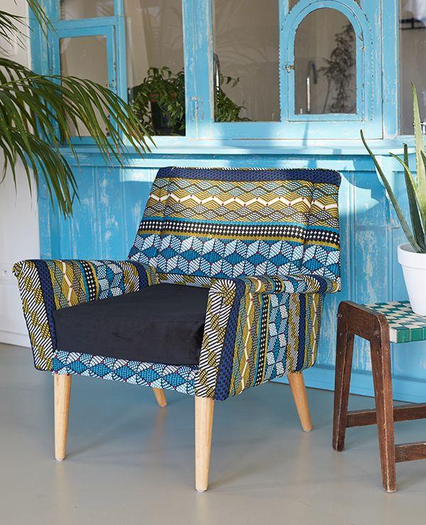 Nouvelle collection Printemps-Été : #Kinshasa #canapé #wax #déco #décoration #ethnique #coussin #diy #doityourself #tissu #frabrics #couture #sewing #tendance #fauteuil #jacquard