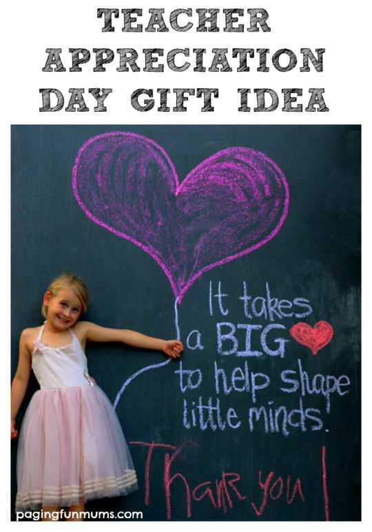 Teacher Appreciation Day Gift Idea - using sidewalk chalk to make a card or framed gift!